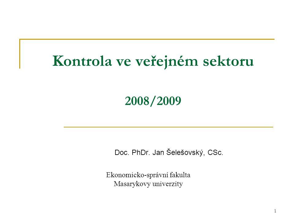 Kontrola ve veřejném sektoru 2008/2009