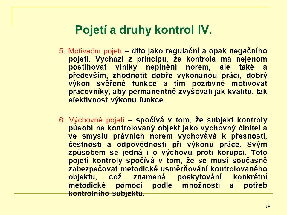 Pojetí a druhy kontrol IV.