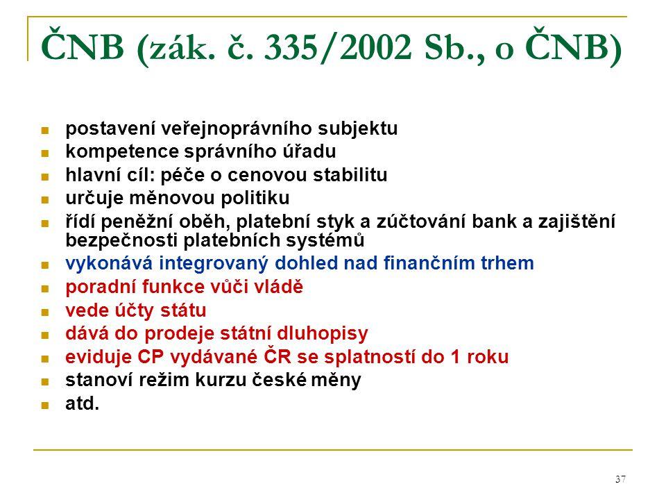 ČNB (zák. č. 335/2002 Sb., o ČNB) postavení veřejnoprávního subjektu