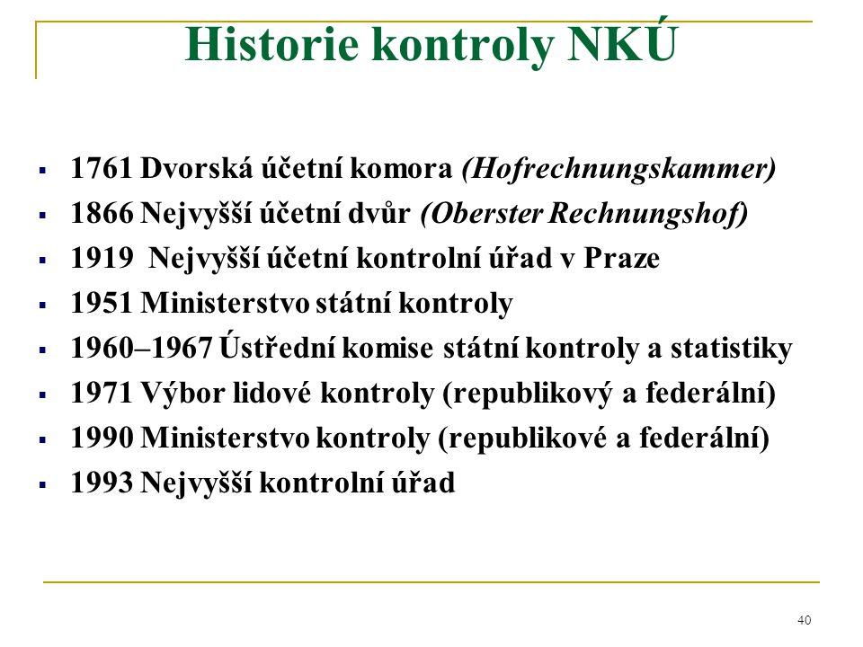 Historie kontroly NKÚ 1761 Dvorská účetní komora (Hofrechnungskammer)