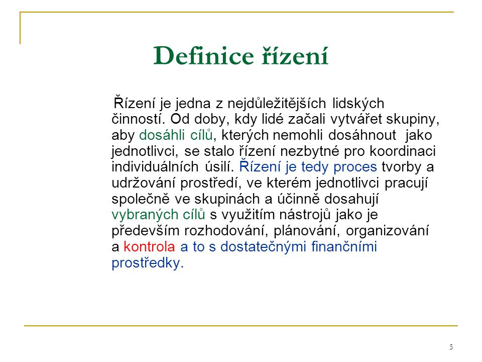 Definice řízení