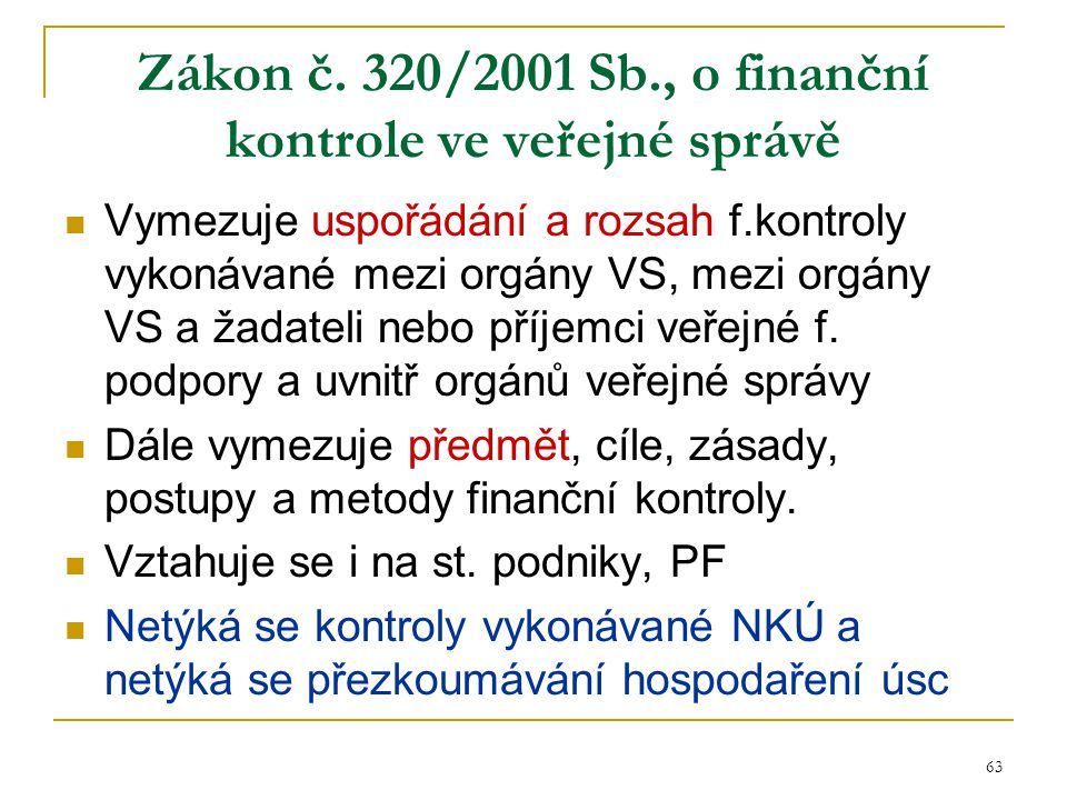 Zákon č. 320/2001 Sb., o finanční kontrole ve veřejné správě