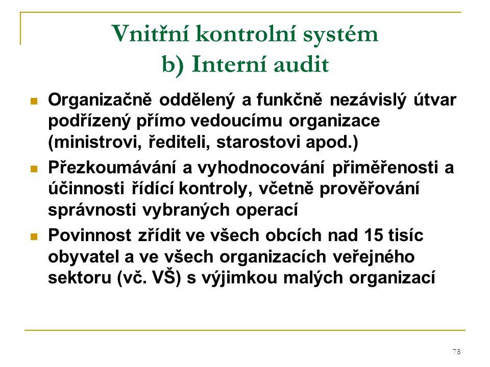 Vnitřní kontrolní systém b) Interní audit