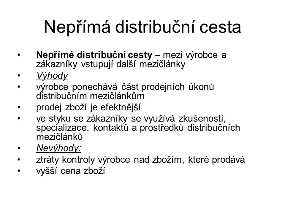 Nepřímá distribuční cesta