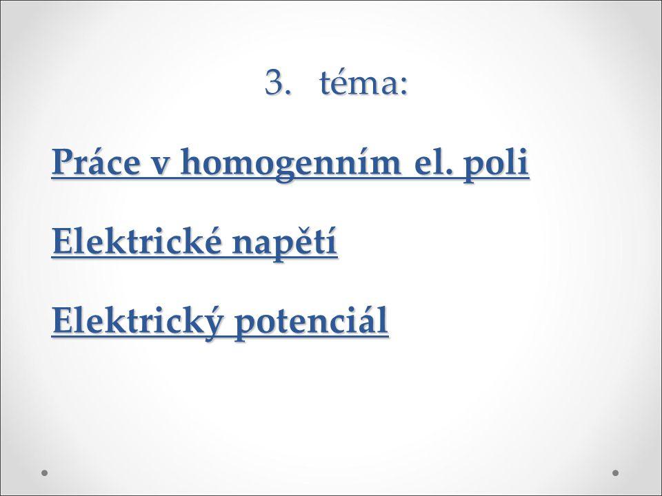 3. téma: Práce v homogenním el. poli Elektrické napětí Elektrický potenciál
