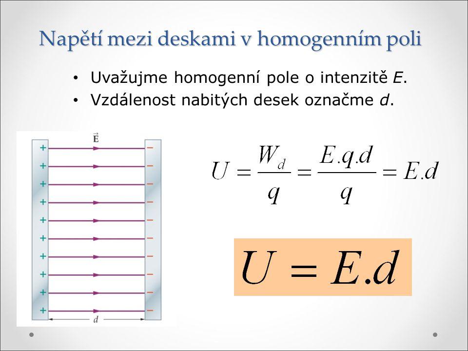 Napětí mezi deskami v homogenním poli