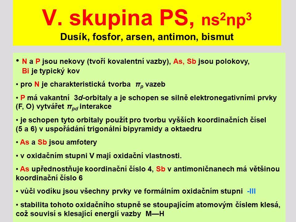 V. skupina PS, ns2np3 Dusík, fosfor, arsen, antimon, bismut