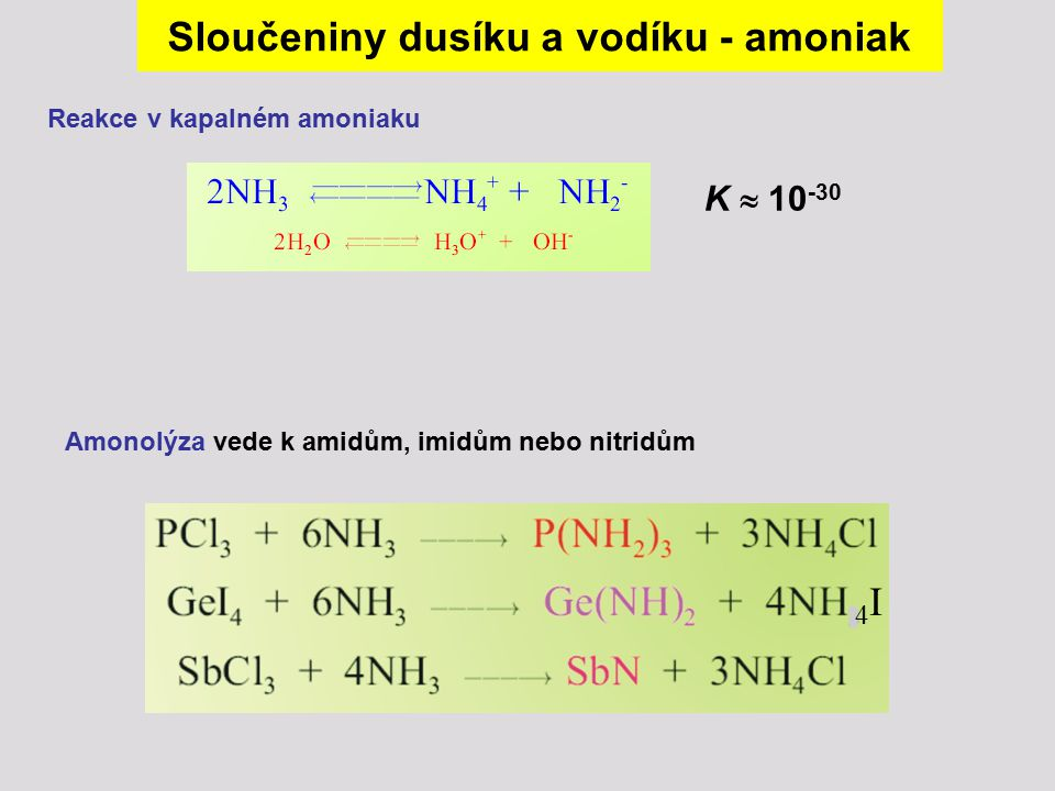 Sloučeniny dusíku a vodíku - amoniak