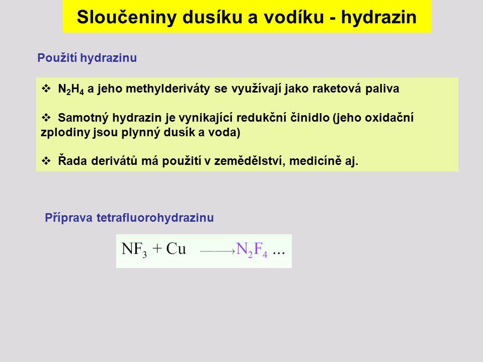 Sloučeniny dusíku a vodíku - hydrazin