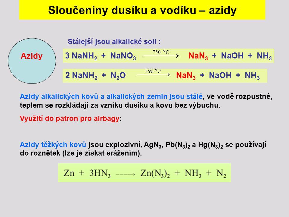 Sloučeniny dusíku a vodíku – azidy 3 NaNH2 + NaNO3 NaN3 + NaOH + NH3