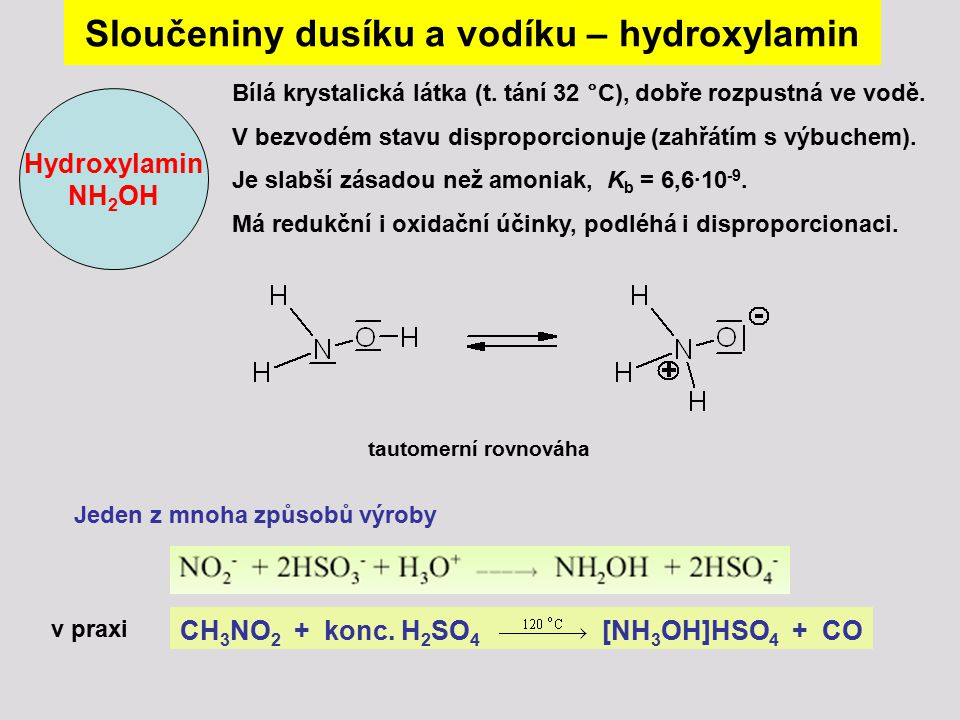 Sloučeniny dusíku a vodíku – hydroxylamin