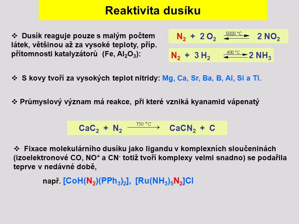Reaktivita dusíku N2 + 2 O2 2 NO2 N2 + 3 H2 2 NH3 CaC2 + N2 CaCN2 + C