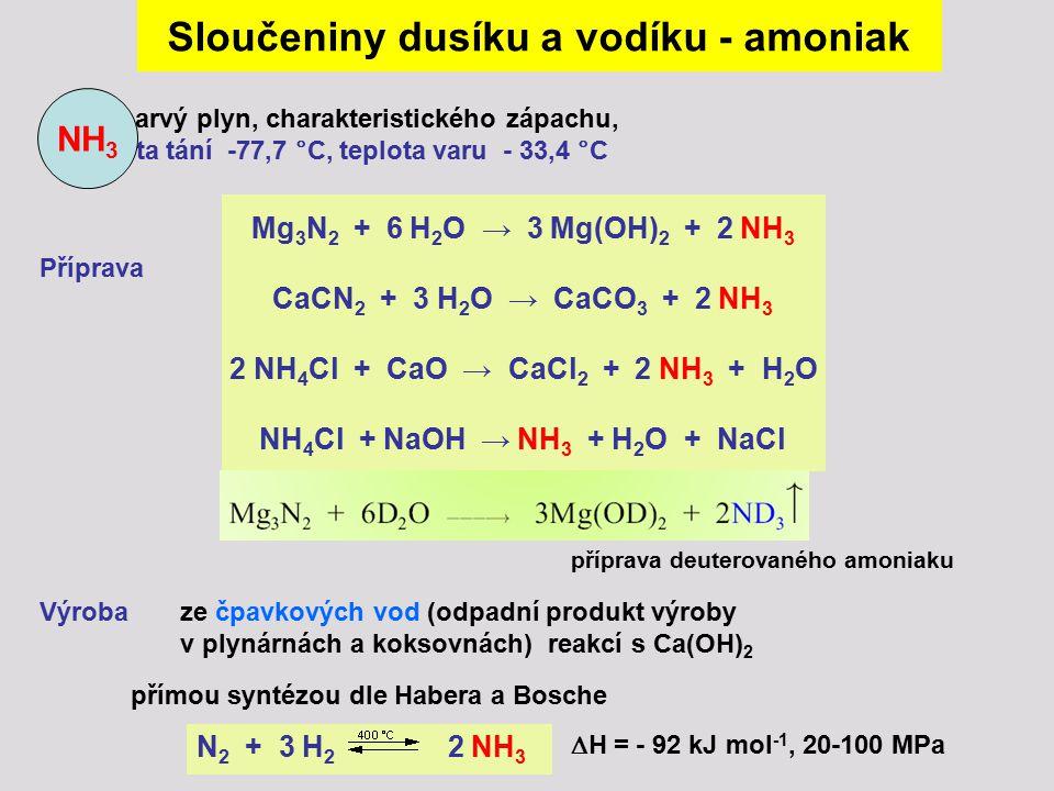 Sloučeniny dusíku a vodíku - amoniak NH4Cl + NaOH → NH3 + H2O + NaCl