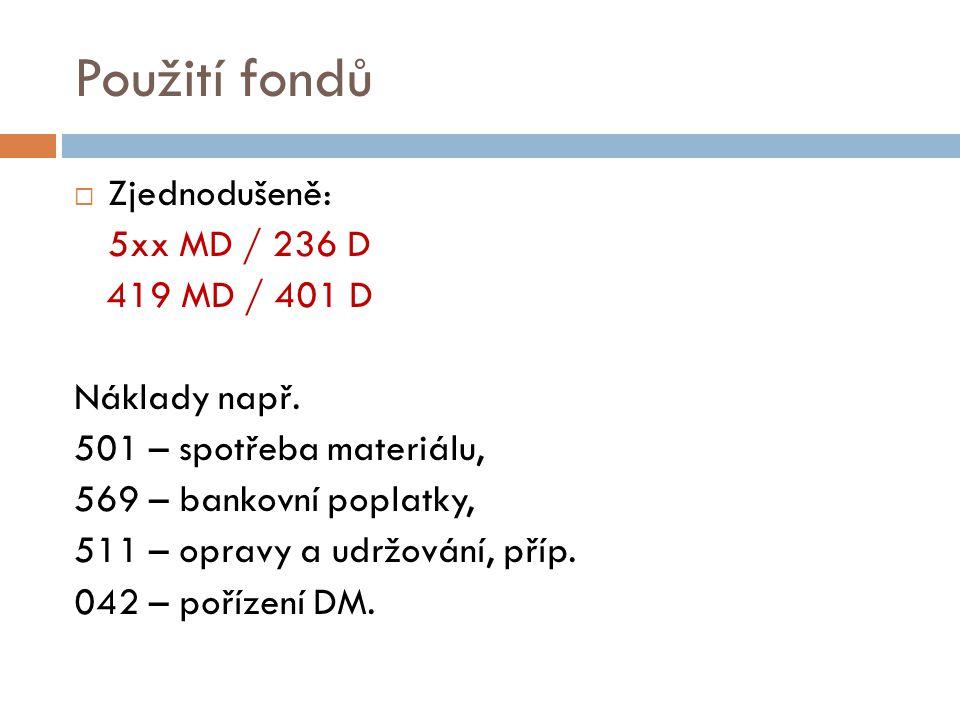 Použití fondů Zjednodušeně: 5xx MD / 236 D 419 MD / 401 D