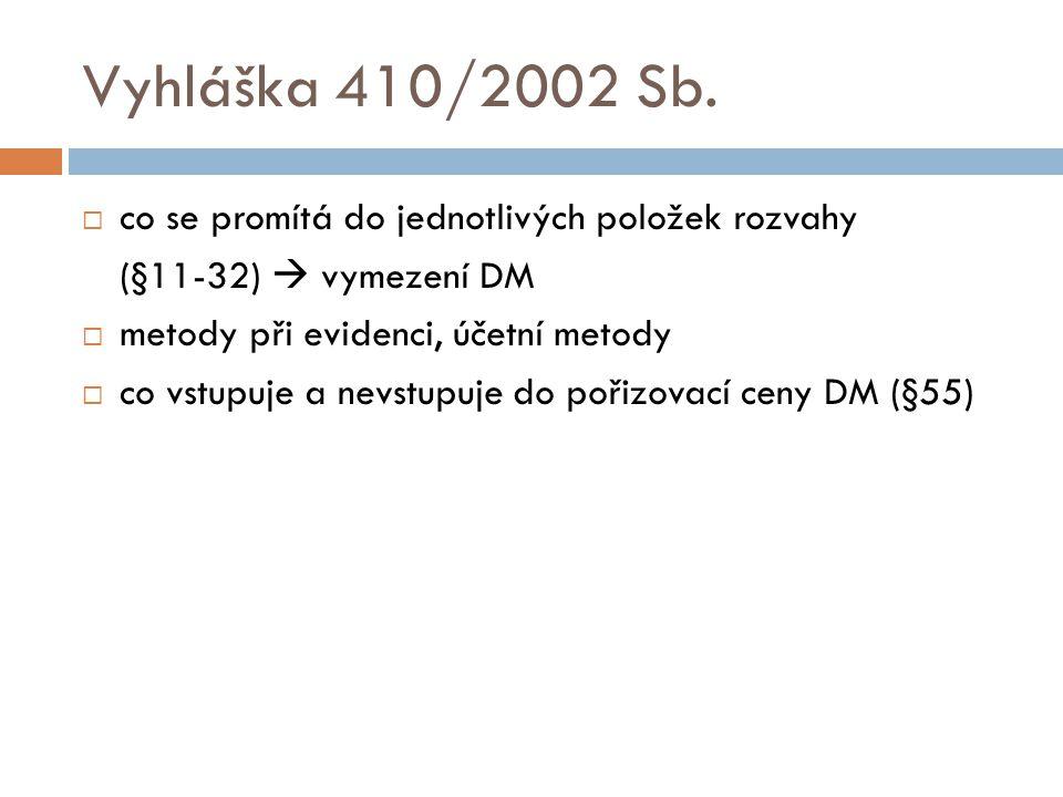 Vyhláška 410/2002 Sb. co se promítá do jednotlivých položek rozvahy