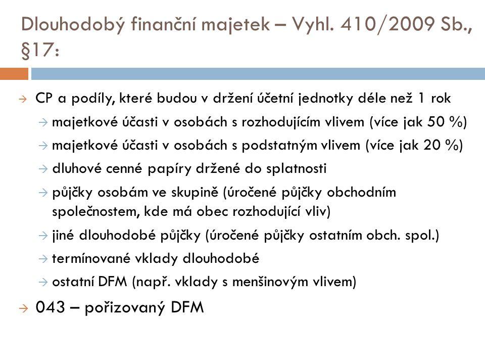 Dlouhodobý finanční majetek – Vyhl. 410/2009 Sb., §17: