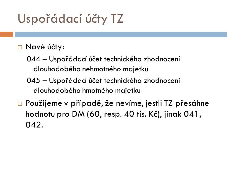 Uspořádací účty TZ Nové účty: