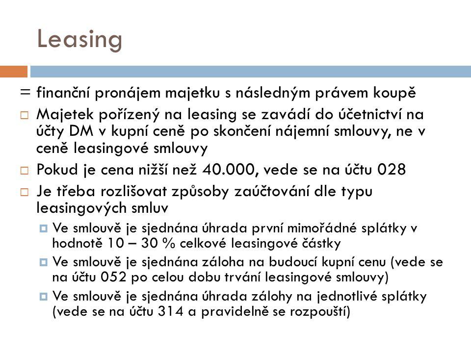 Leasing = finanční pronájem majetku s následným právem koupě