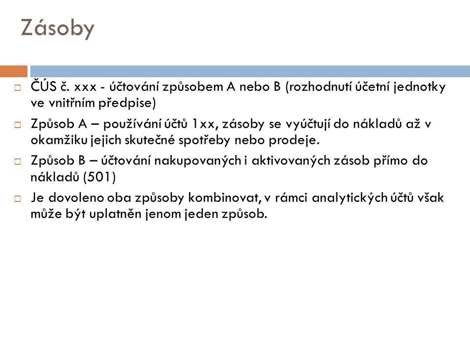 Zásoby ČÚS č. xxx - účtování způsobem A nebo B (rozhodnutí účetní jednotky ve vnitřním předpise)