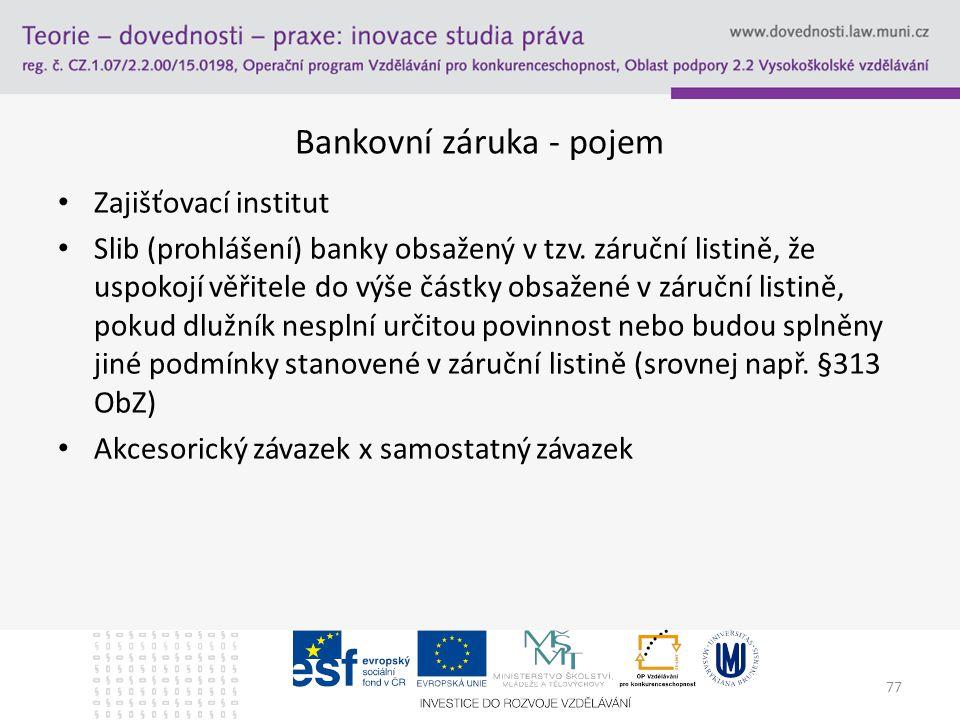 Bankovní záruka - pojem