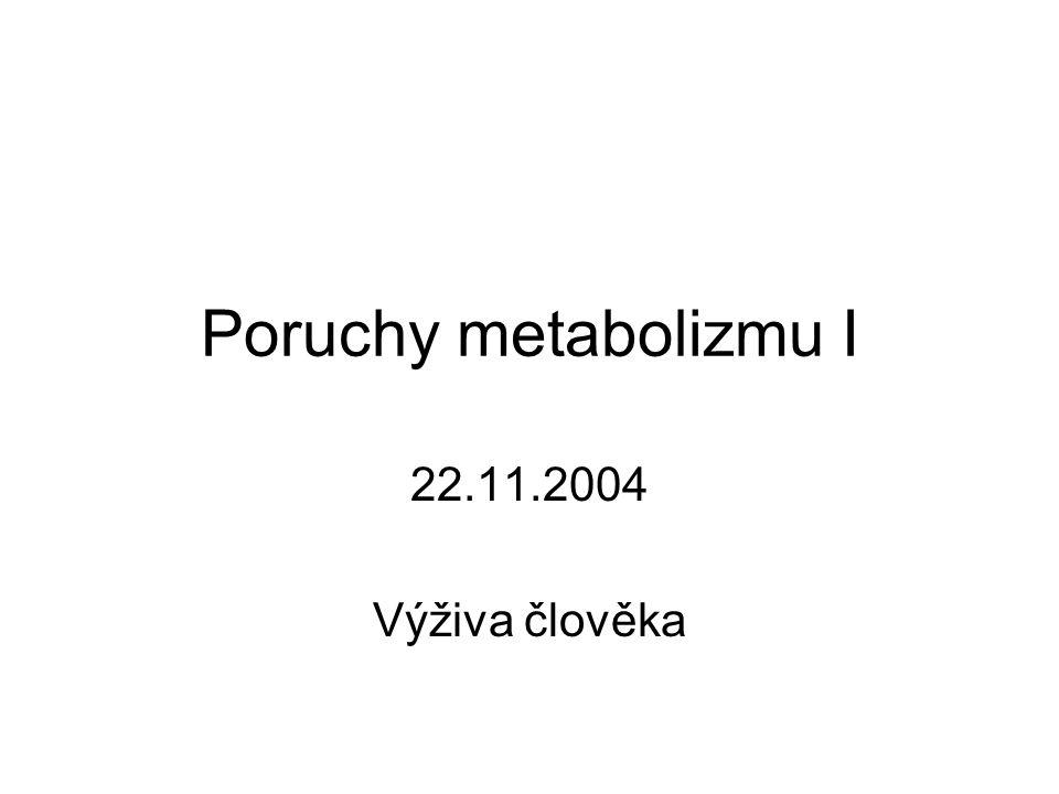 Poruchy metabolizmu I 22.11.2004 Výživa člověka