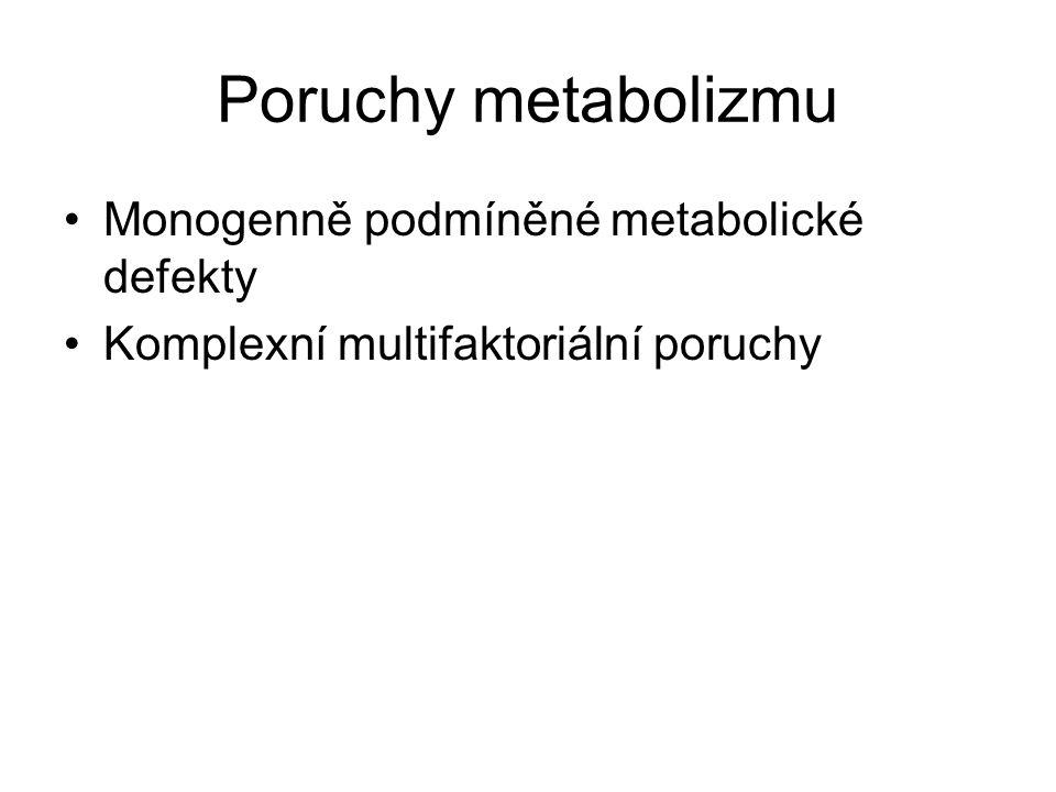 Poruchy metabolizmu Monogenně podmíněné metabolické defekty