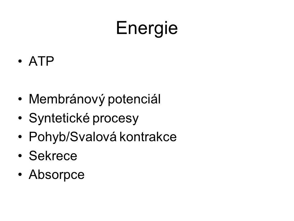 Energie ATP Membránový potenciál Syntetické procesy