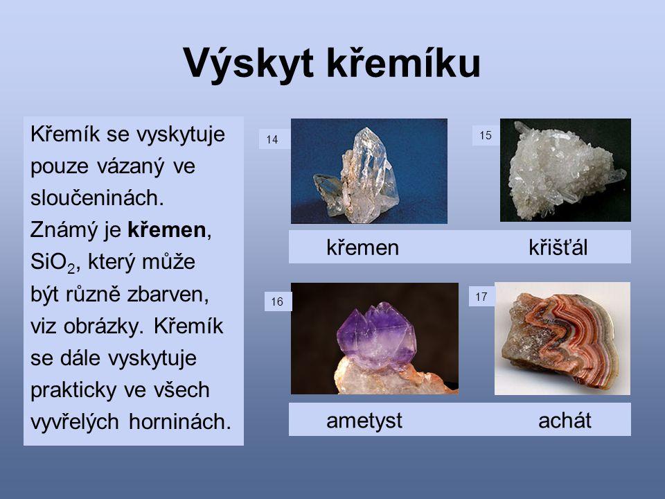 Výskyt křemíku Křemík se vyskytuje pouze vázaný ve sloučeninách.