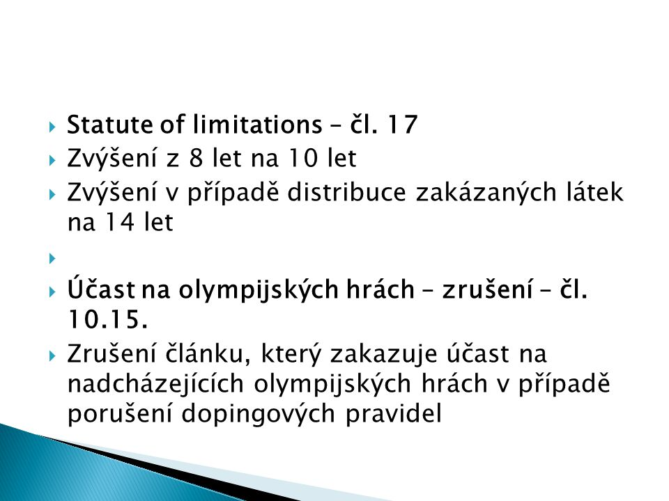 Statute of limitations – čl. 17