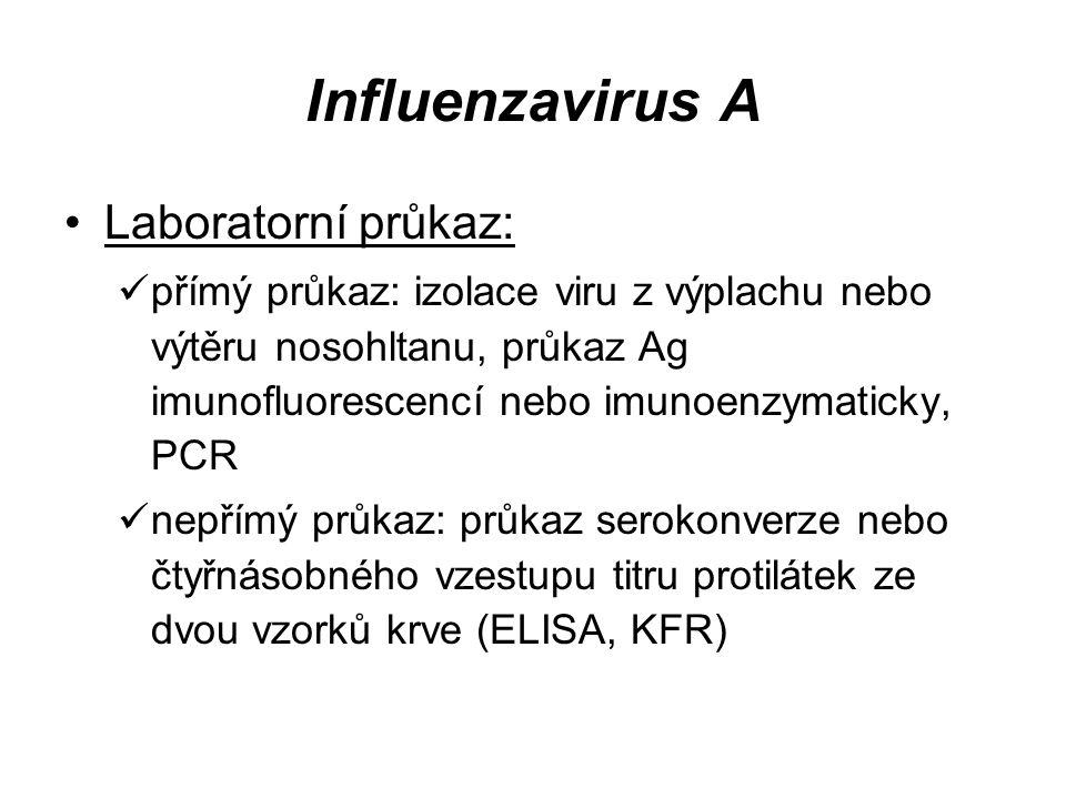 Influenzavirus A Laboratorní průkaz: