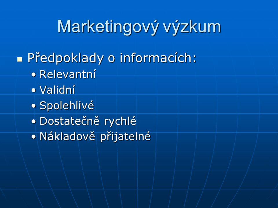 Marketingový výzkum Předpoklady o informacích: Relevantní Validní