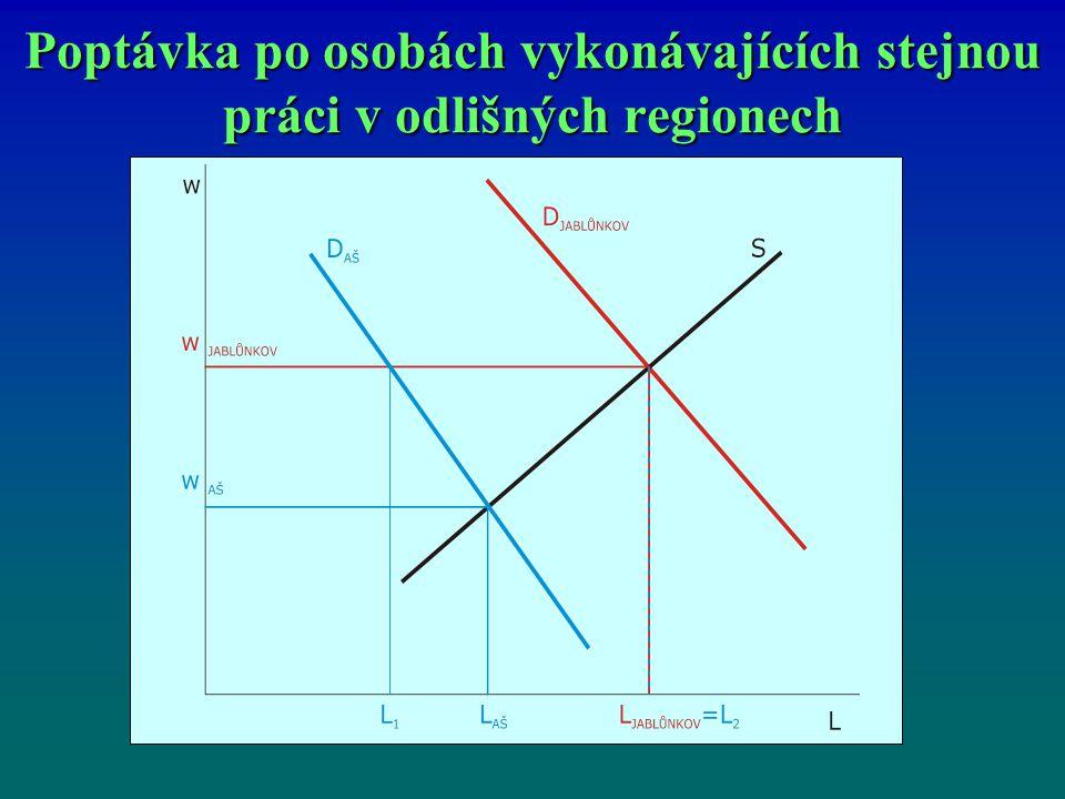 Poptávka po osobách vykonávajících stejnou práci v odlišných regionech