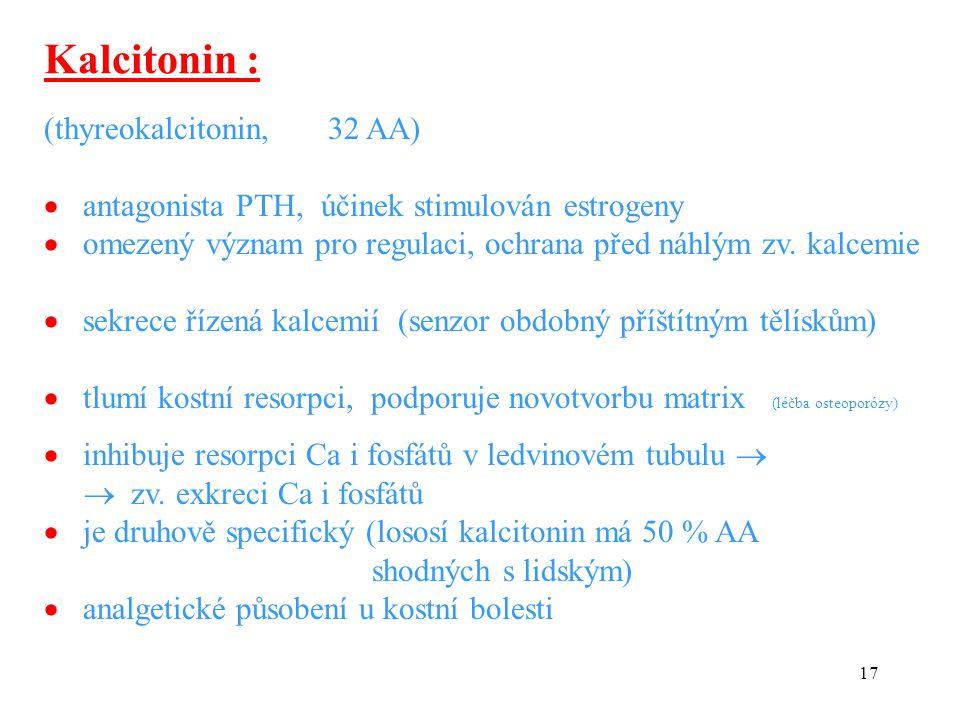 Kalcitonin : (thyreokalcitonin, 32 AA)