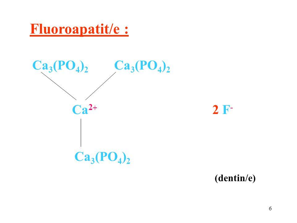 Fluoroapatit/e : Ca2+ Ca3(PO4)2 2 F- (dentin/e)