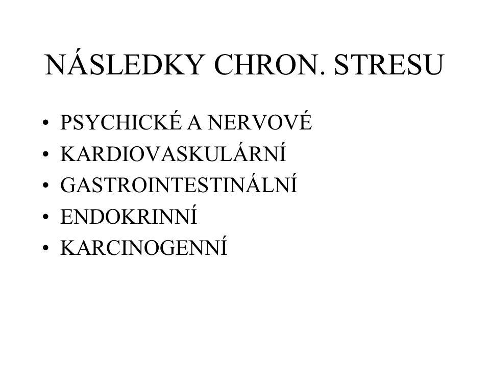 NÁSLEDKY CHRON. STRESU PSYCHICKÉ A NERVOVÉ KARDIOVASKULÁRNÍ