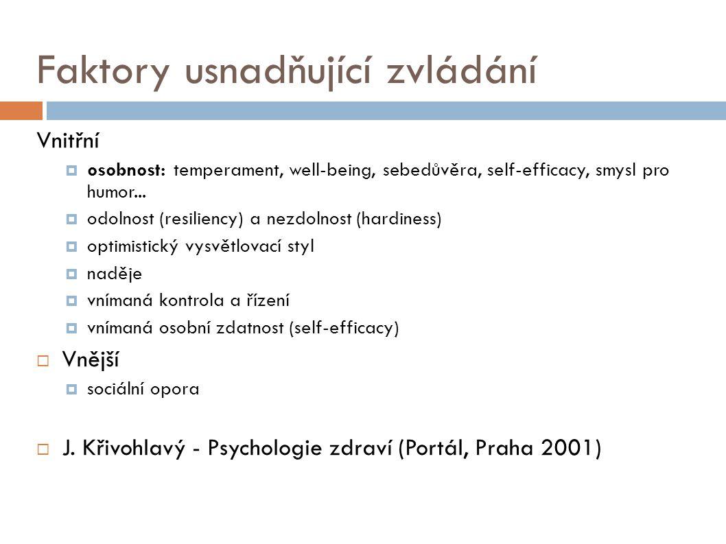 Faktory usnadňující zvládání