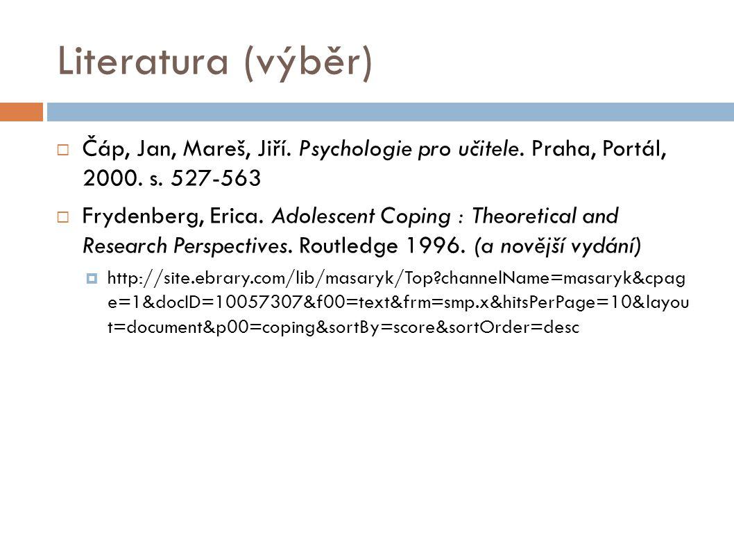 Literatura (výběr) Čáp, Jan, Mareš, Jiří. Psychologie pro učitele. Praha, Portál, 2000. s. 527-563.