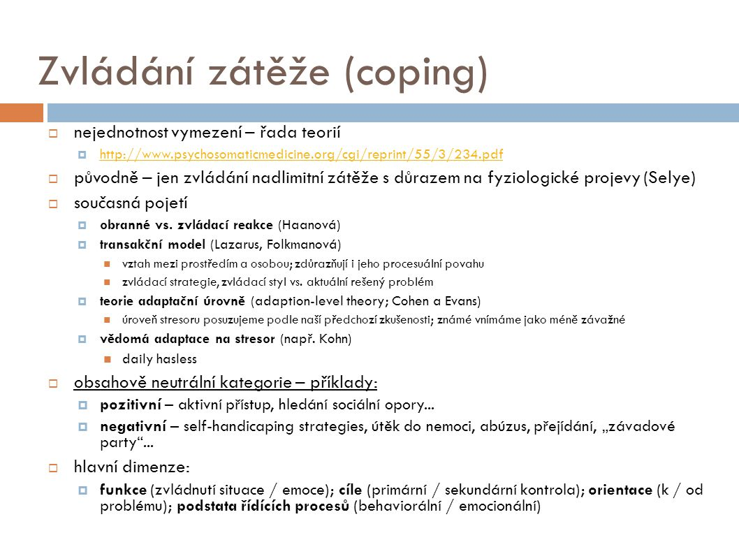 Zvládání zátěže (coping)