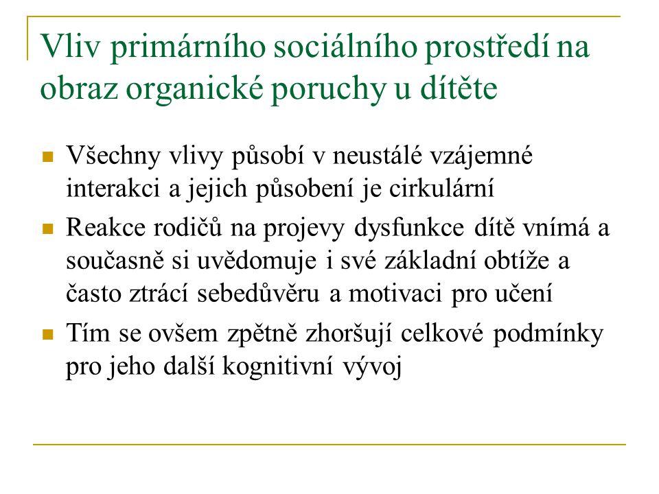 Vliv primárního sociálního prostředí na obraz organické poruchy u dítěte