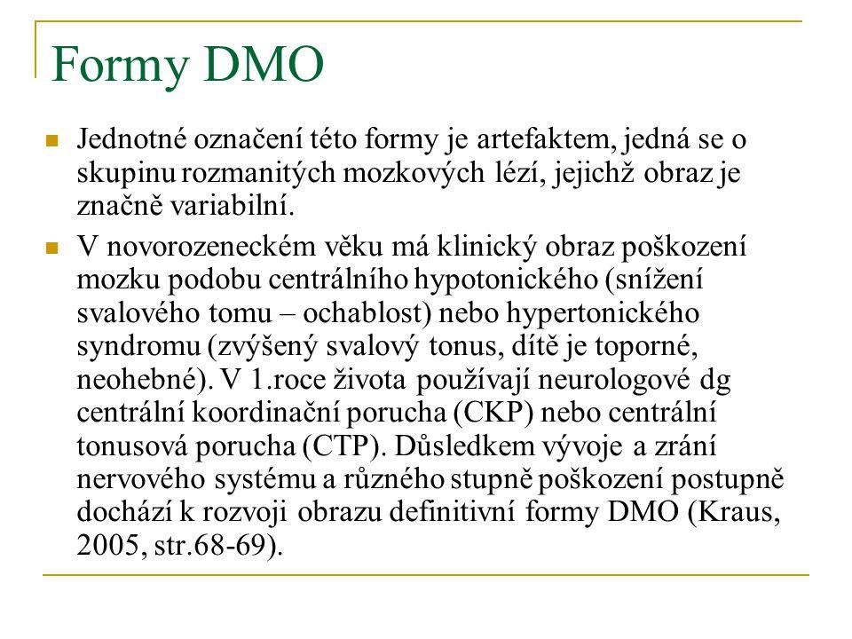 Formy DMO Jednotné označení této formy je artefaktem, jedná se o skupinu rozmanitých mozkových lézí, jejichž obraz je značně variabilní.