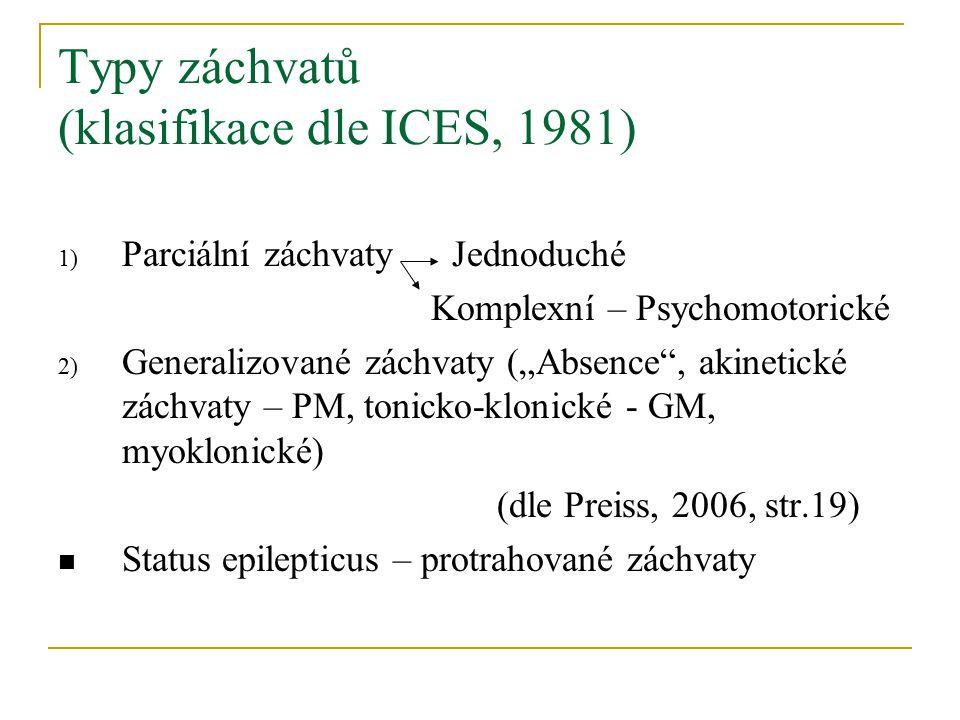 Typy záchvatů (klasifikace dle ICES, 1981)