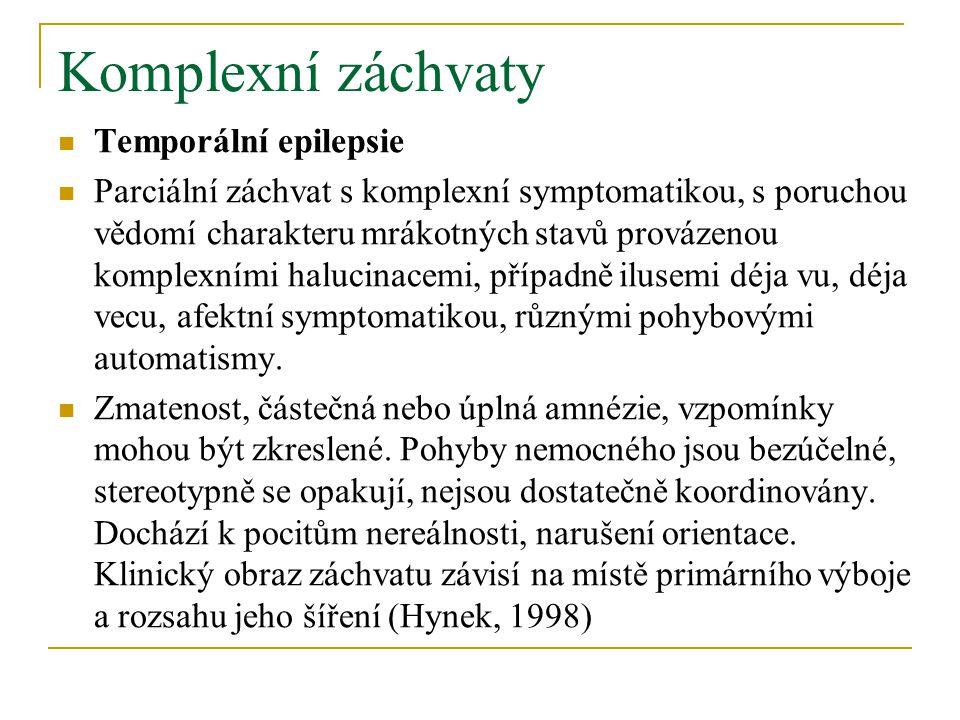 Komplexní záchvaty Temporální epilepsie