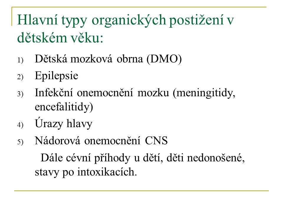 Hlavní typy organických postižení v dětském věku:
