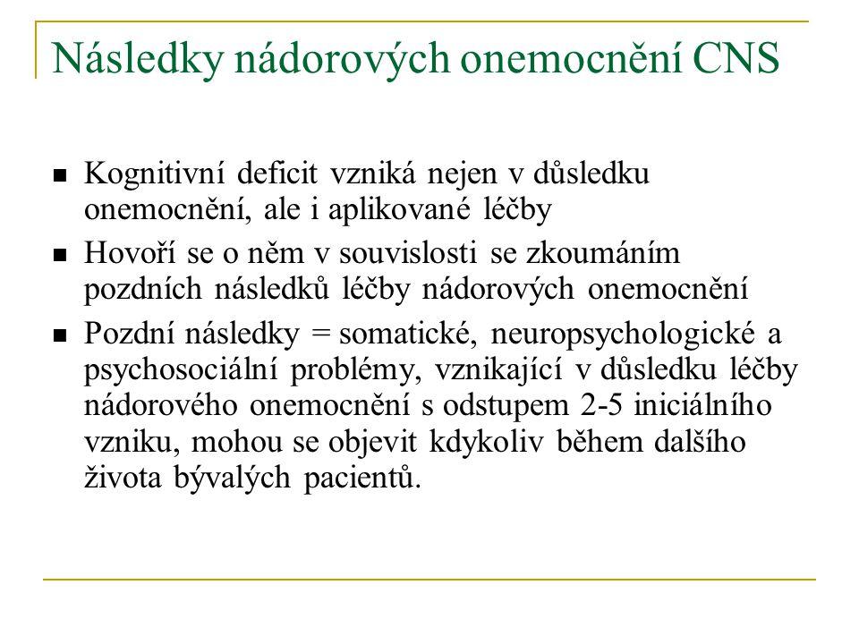 Následky nádorových onemocnění CNS