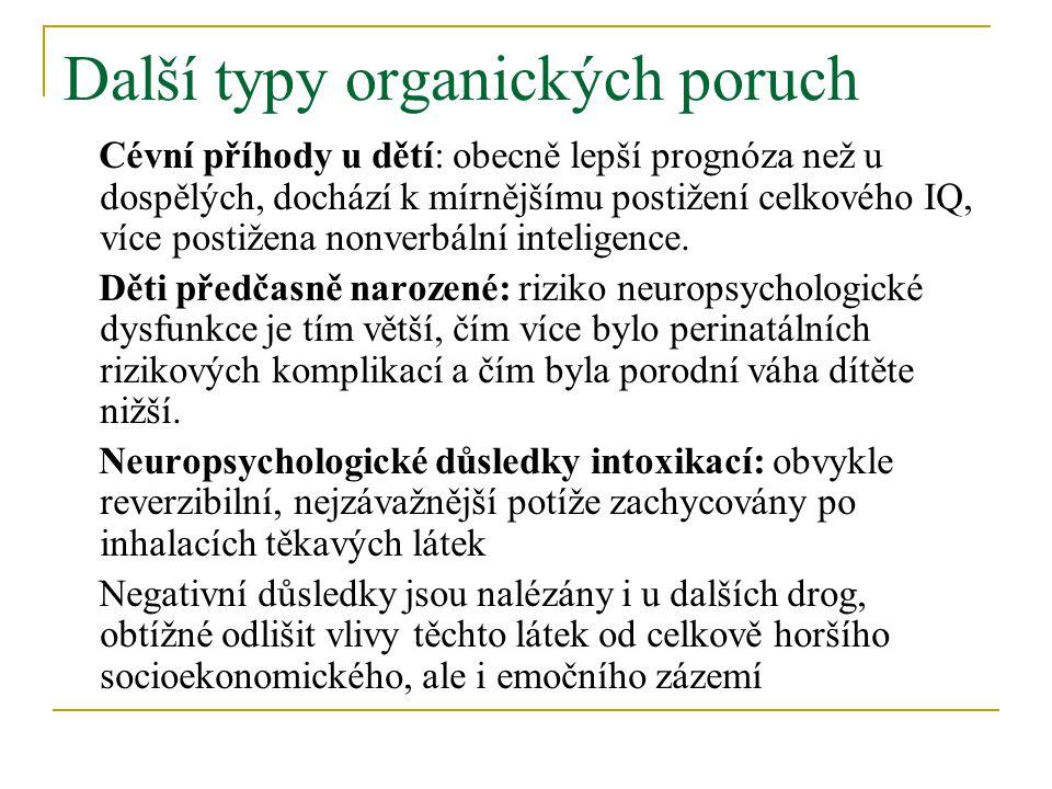 Další typy organických poruch