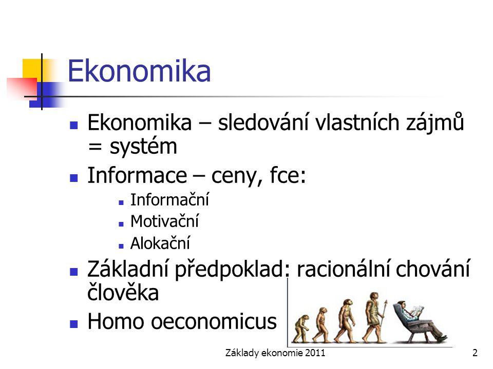 Ekonomika Ekonomika – sledování vlastních zájmů = systém