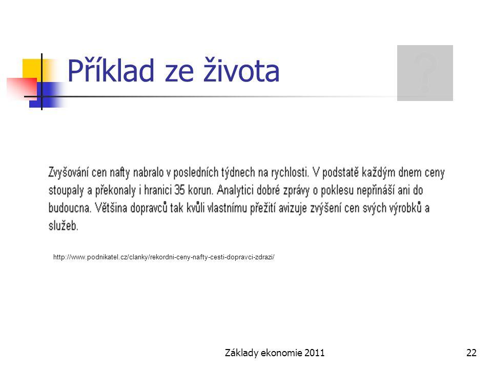 Příklad ze života Základy ekonomie 2011