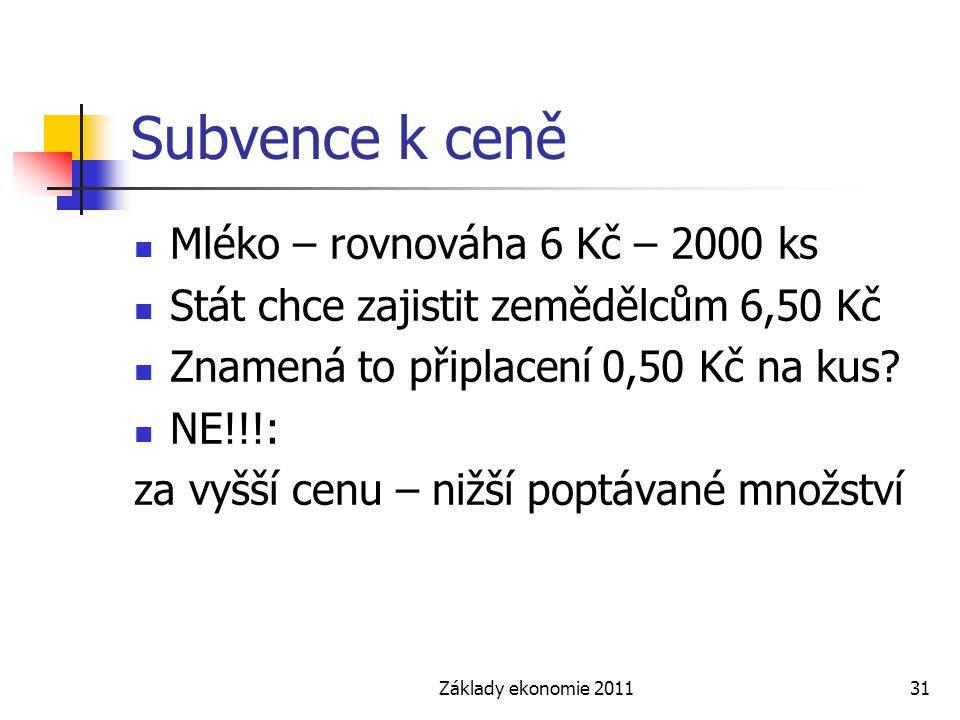 Subvence k ceně Mléko – rovnováha 6 Kč – 2000 ks