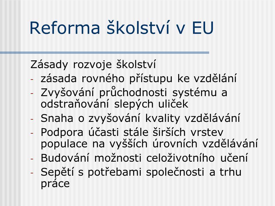 Reforma školství v EU Zásady rozvoje školství