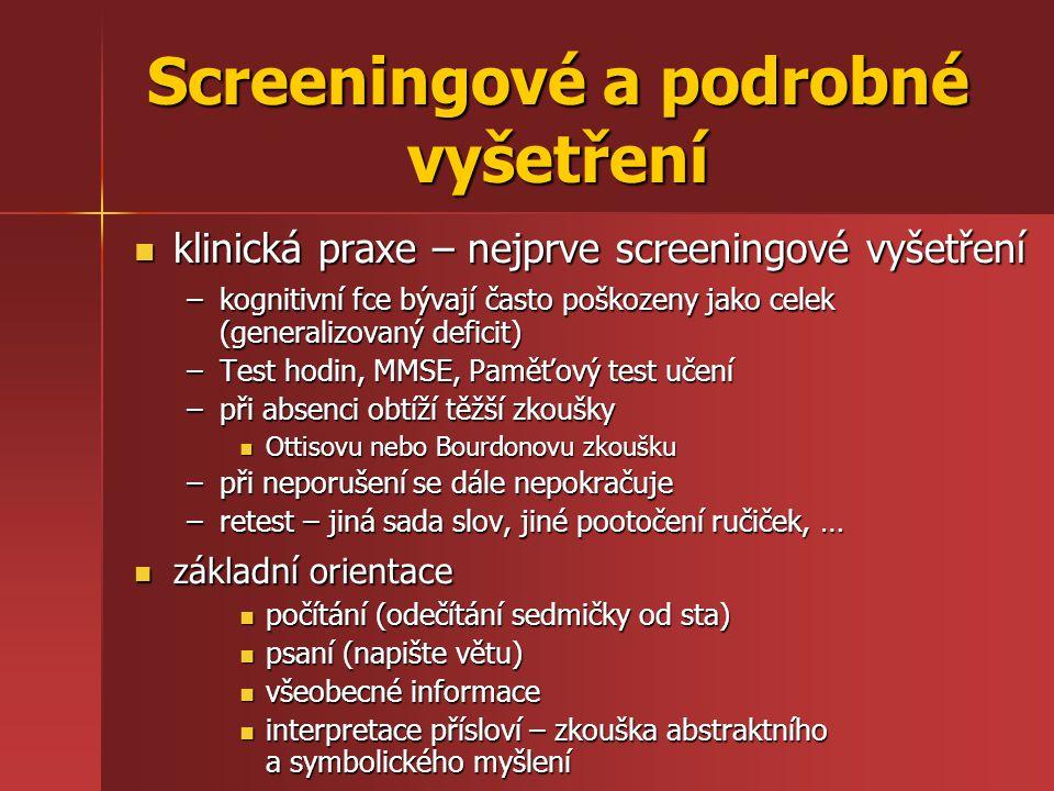 Screeningové a podrobné vyšetření